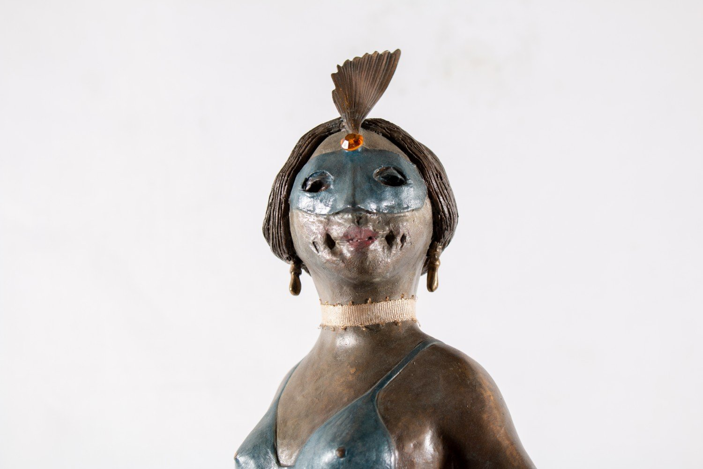 Figurative Cold Painted Bronze Sculpture: