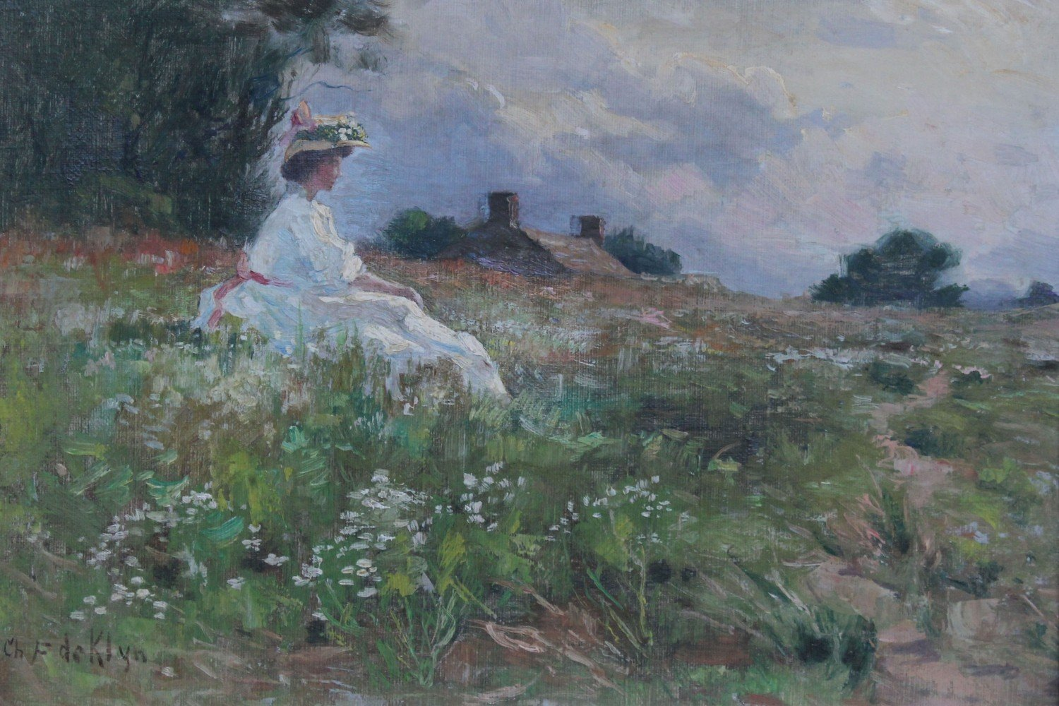 Woman in a Country Landscape by Charles Francis DeKlyn