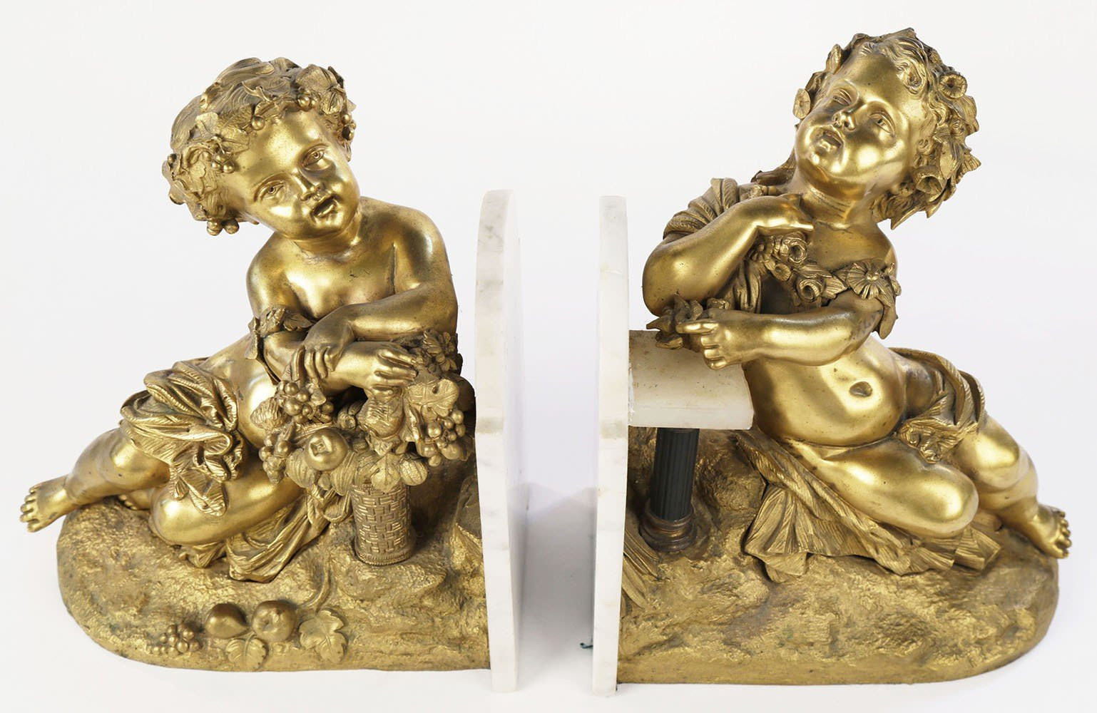Pair Gilt Bronze and Marble Cupid Bookends