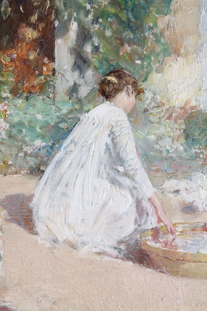Feeding The Pigeons  by Childe Hassam
