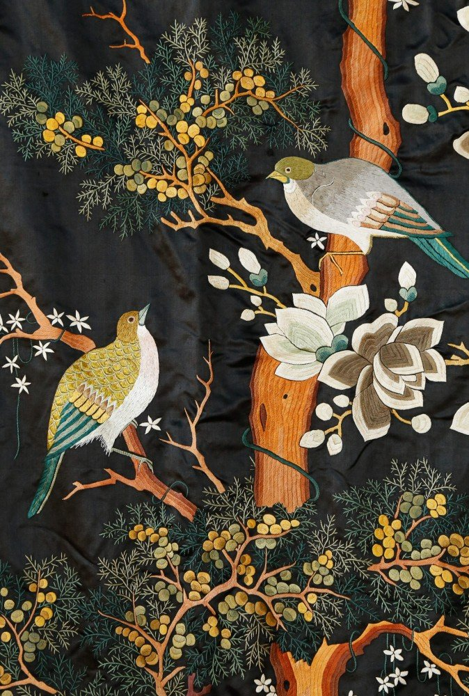 Rare Monumental 19th Century Chinese Embroidery Depicting Various Exotic Birds in a Landscape