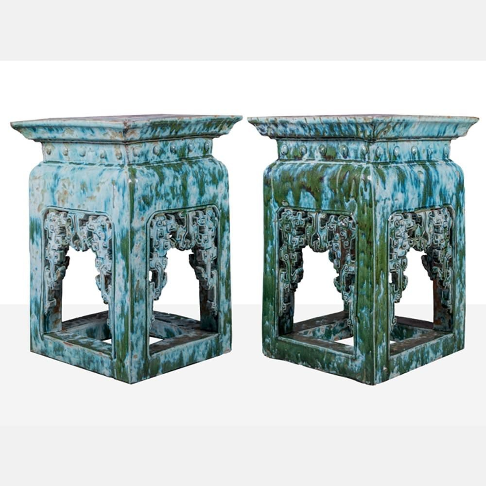 Large Pair of Chinese Green and Blue Glazed Ceramic Pedestals