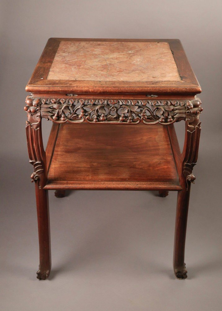 Chinese Marble Top Teakwood side table