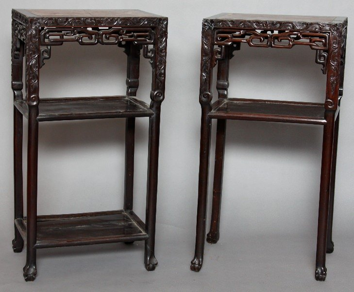 A Near Pair of Chinese Teakwood Marble Top Stands