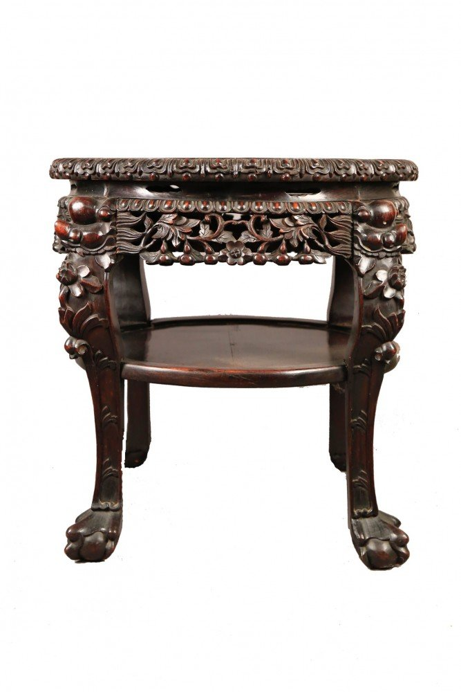 A Chinese Teak Wood and Marble Top Stand