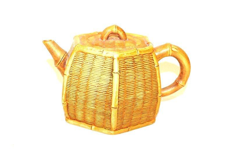 Decorative Arts: A Chinese Yi Xing Bamboo Pattern Teapot