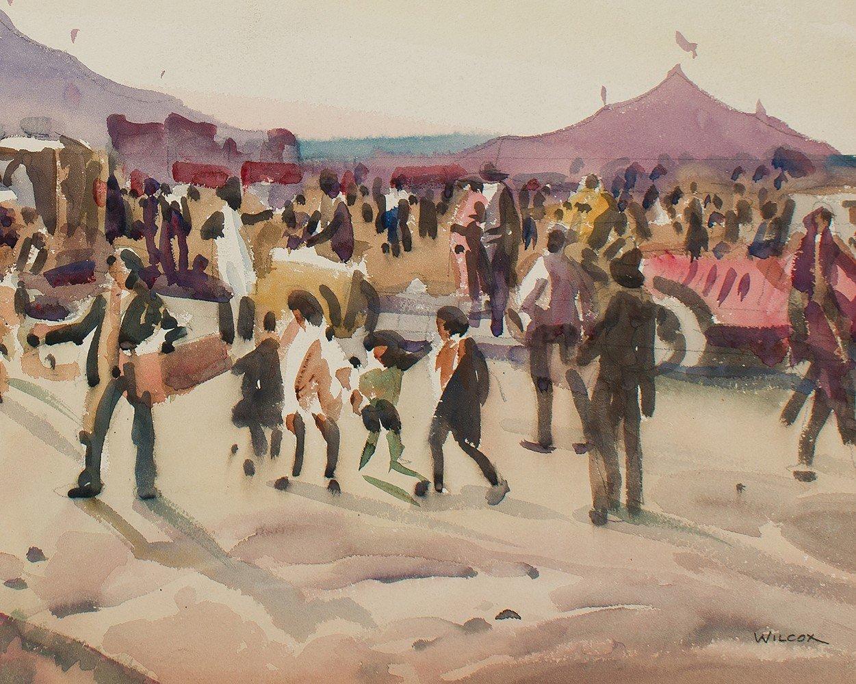 Landscape Figurative Watercolor on Whatman Board Painting: