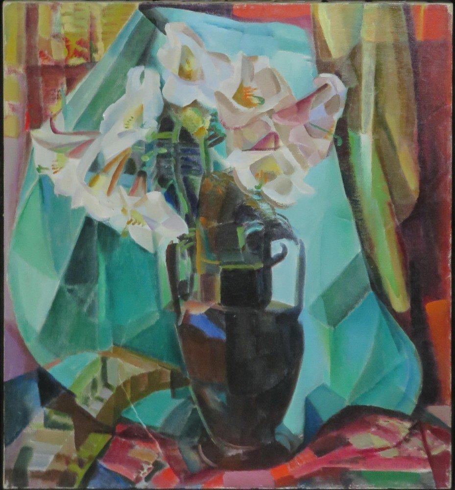 Still Life with Regal Lilies in Dark Vase by Clara Deike