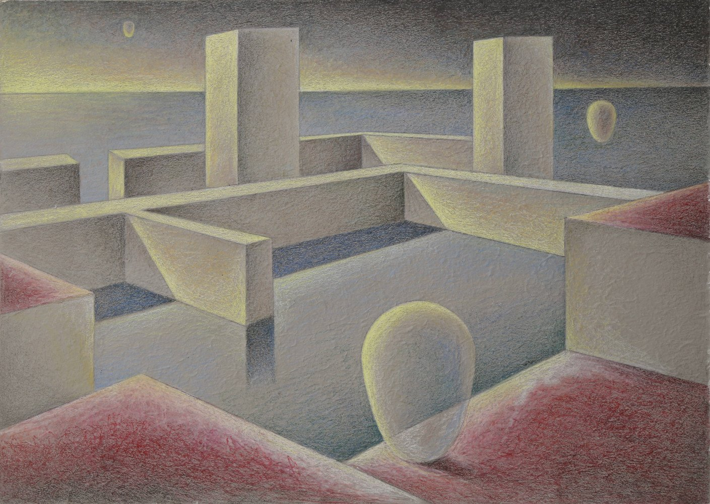 Abstract Pastel on Paper Drawing: