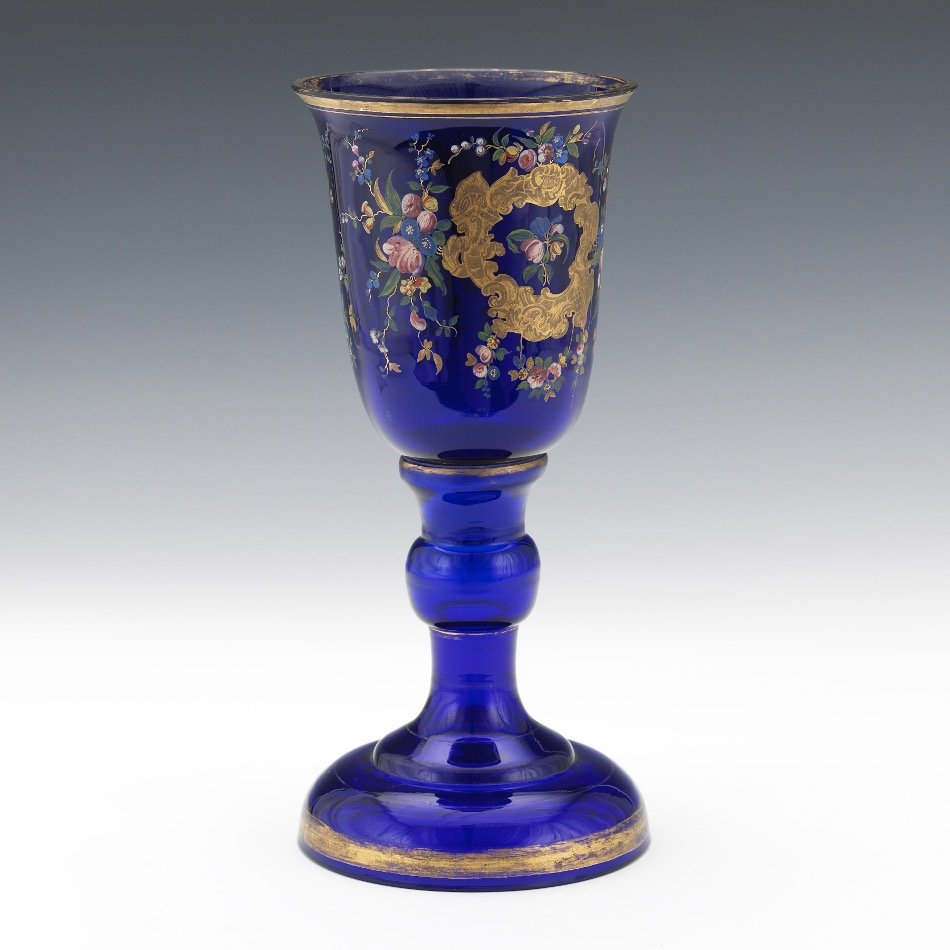 Large 19th Century Continental Cobalt Glass Chalice