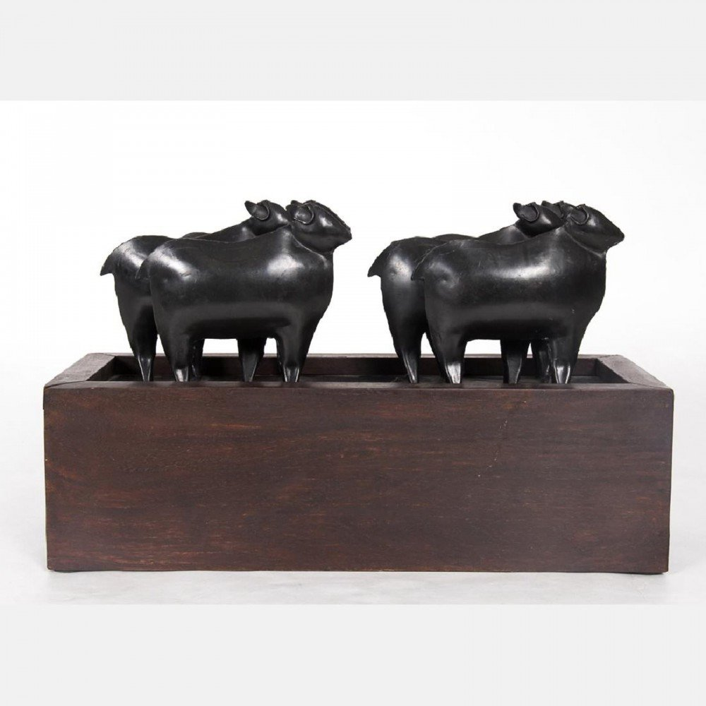 A Contemporary Bronze and Wood Sewing Box