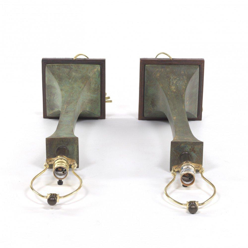 Bronze with Verdigris Finish Lamp: Pair of Contemporary Bronze Lamps