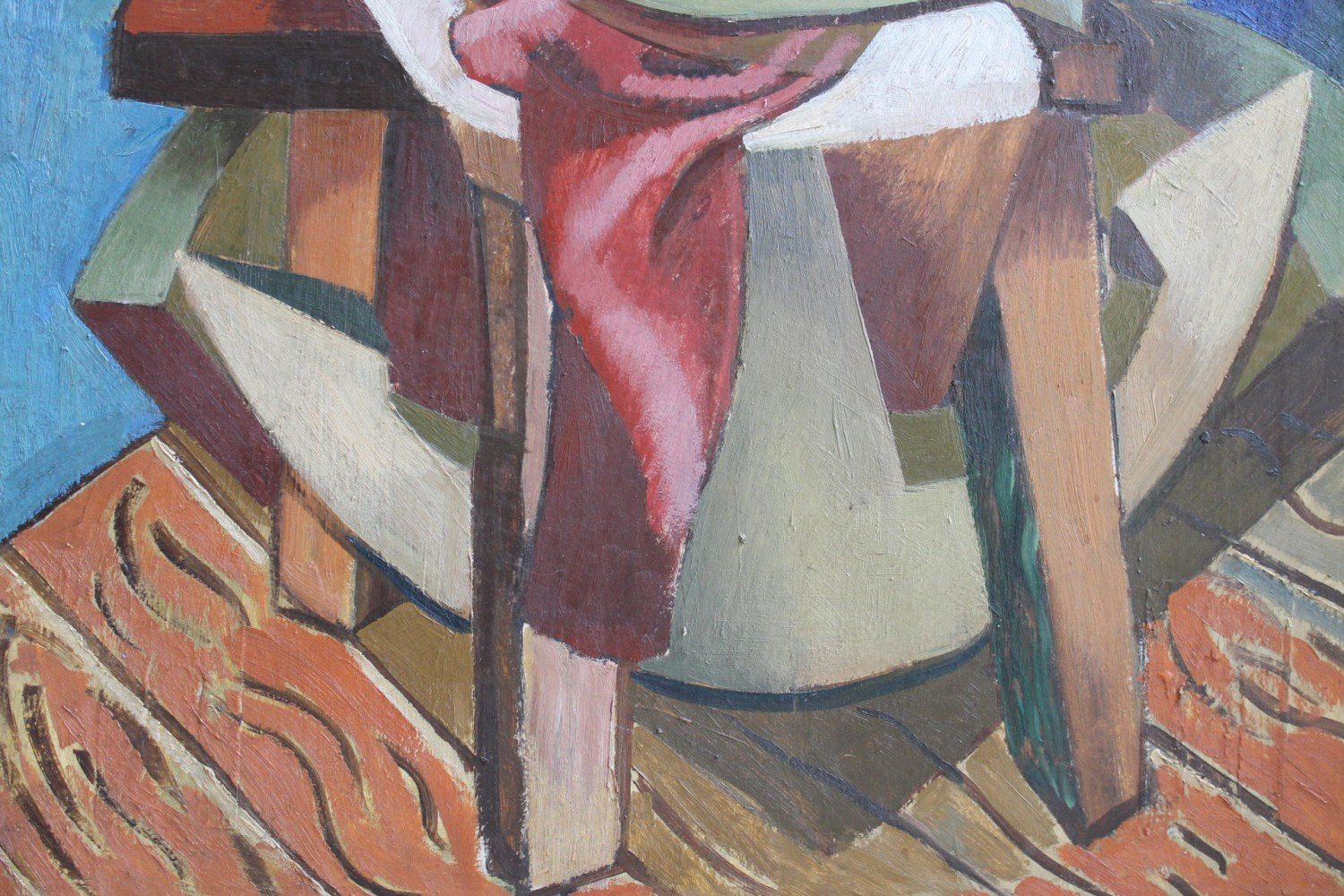 Cubist Still Life with Rope, Chair and Theatrical Mask by 20th Century American School
