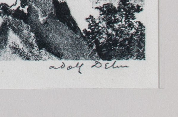 Adolph Dehn (American 1895-1968) Lake in the Garden of the Gods, 1949