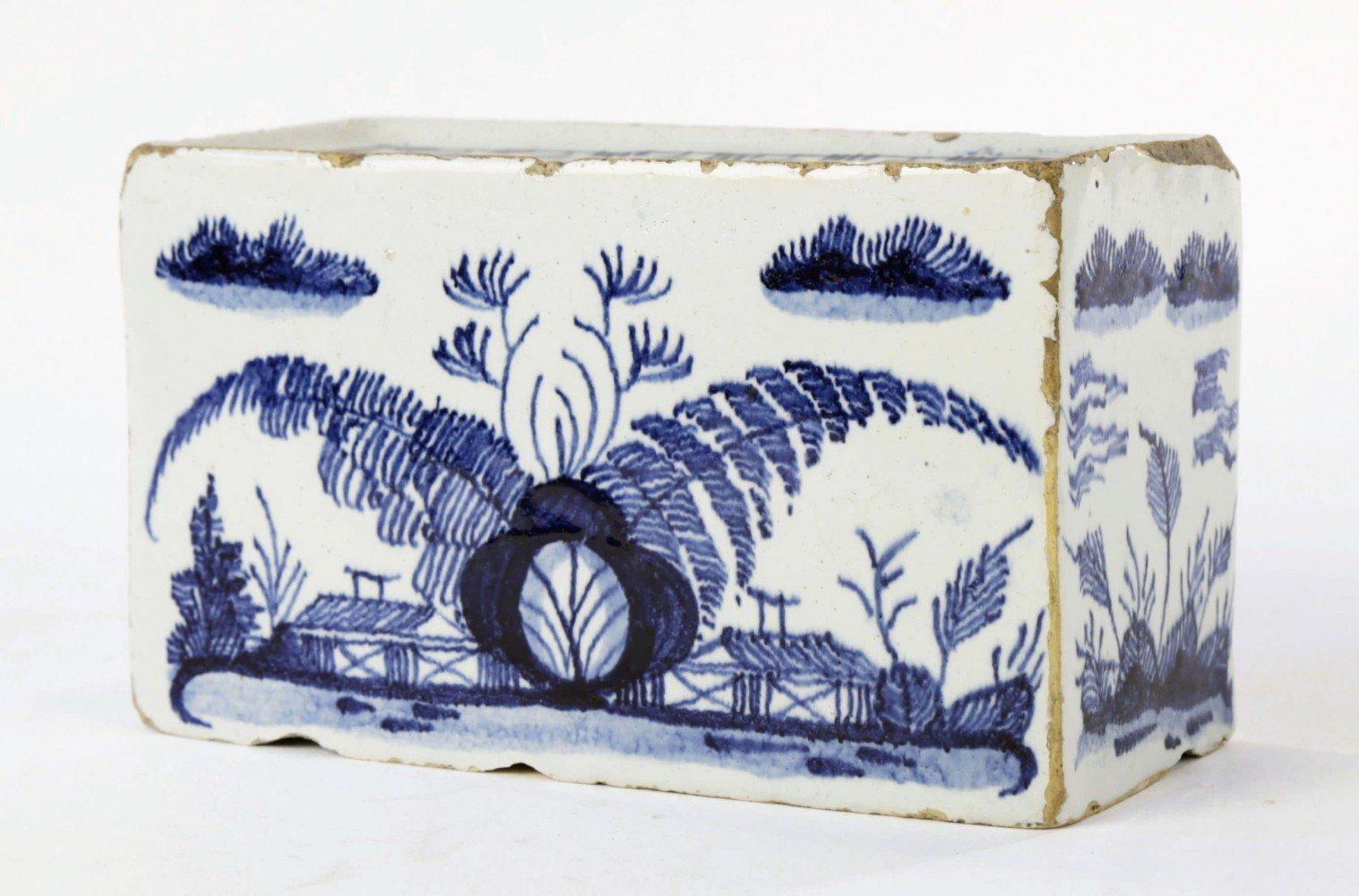 Delft Blue and White Glazed Flower Brick by 18thc. Dutch School