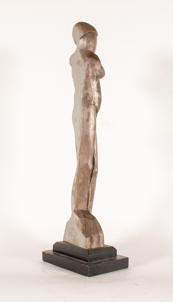 Figurative Carved Wood with Silver Finish on Black Wood Base Sculpture: