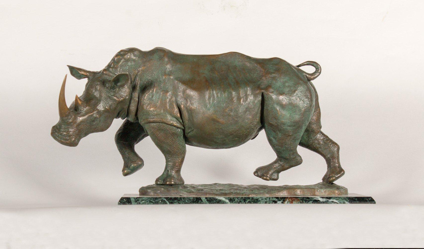 Bronze Rhino by Donald Greig