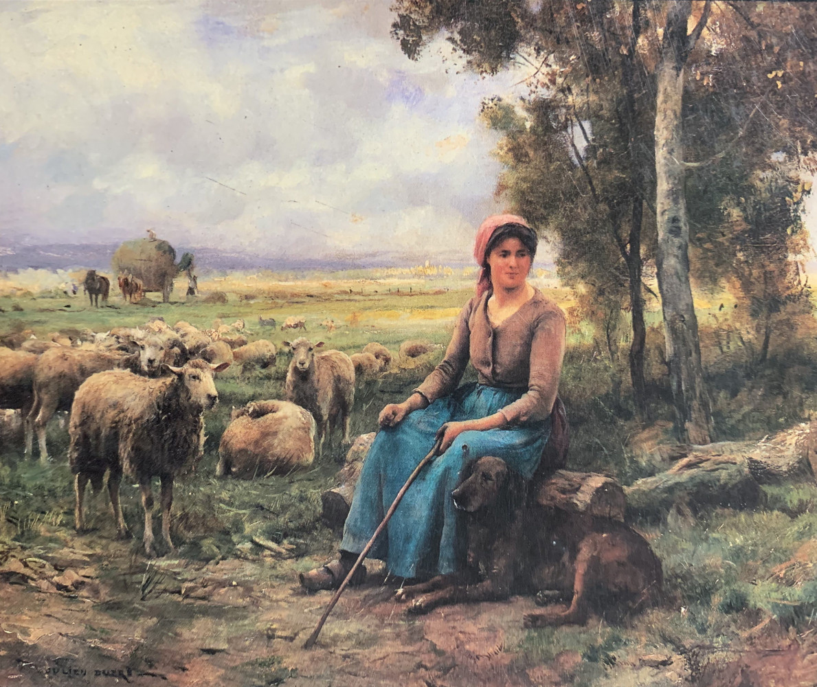 A Shepherdess and Her Flock by Julien Dupré