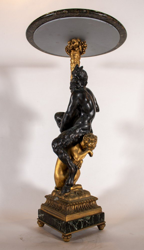 Edward F. Caldwell & Co., Bronze and Gilt Candlestick Fitted as an Occasional Table