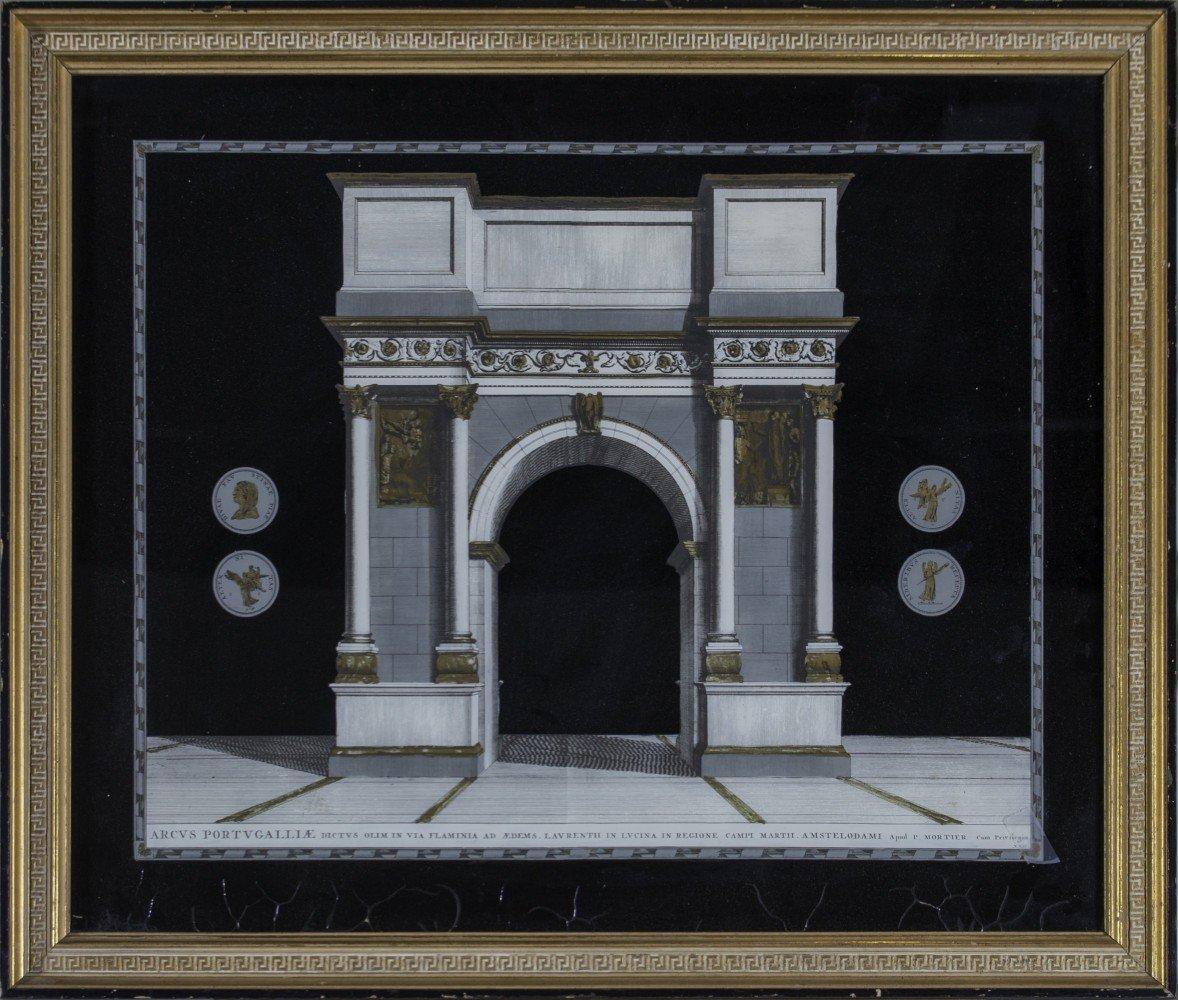 Eglomise Classical Architectural Scene, 19th Century