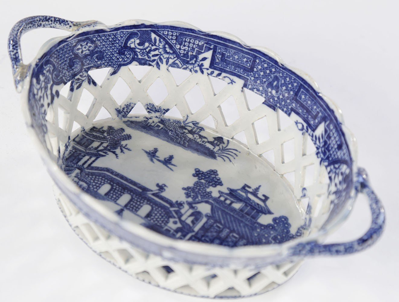 An English Soft Paste Porcelain Chestnut Basket by 18thc. British School