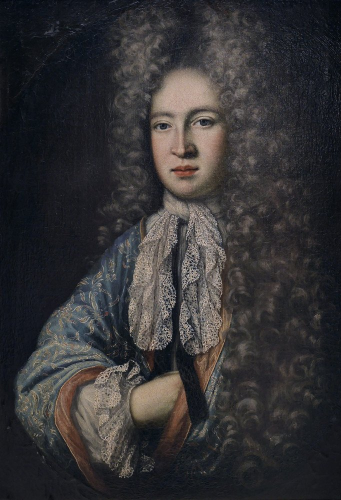 Portrait of Aristocratic Young Man in Peruke by 17th Century British School