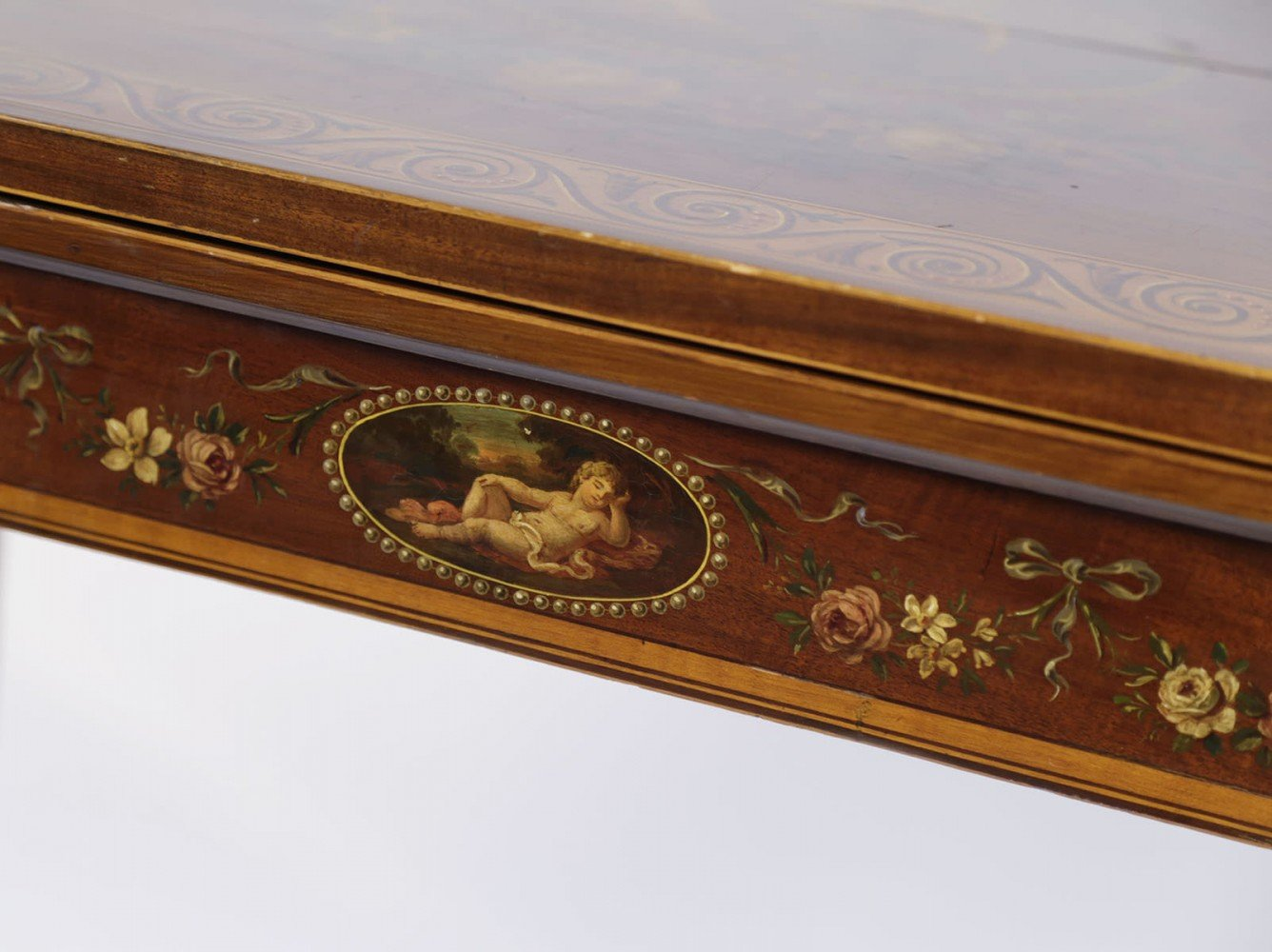 English Hepplewhite Games Table Painted in the style of Angelica Kauffmann