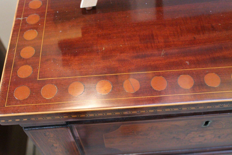 English Regency Inlaid Mahogany and Satin Wood Two Pedestal Sideboard