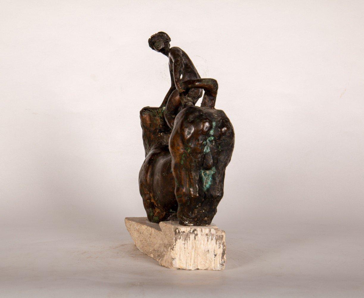 Figurative Bronze on Stone Base Sculpture: