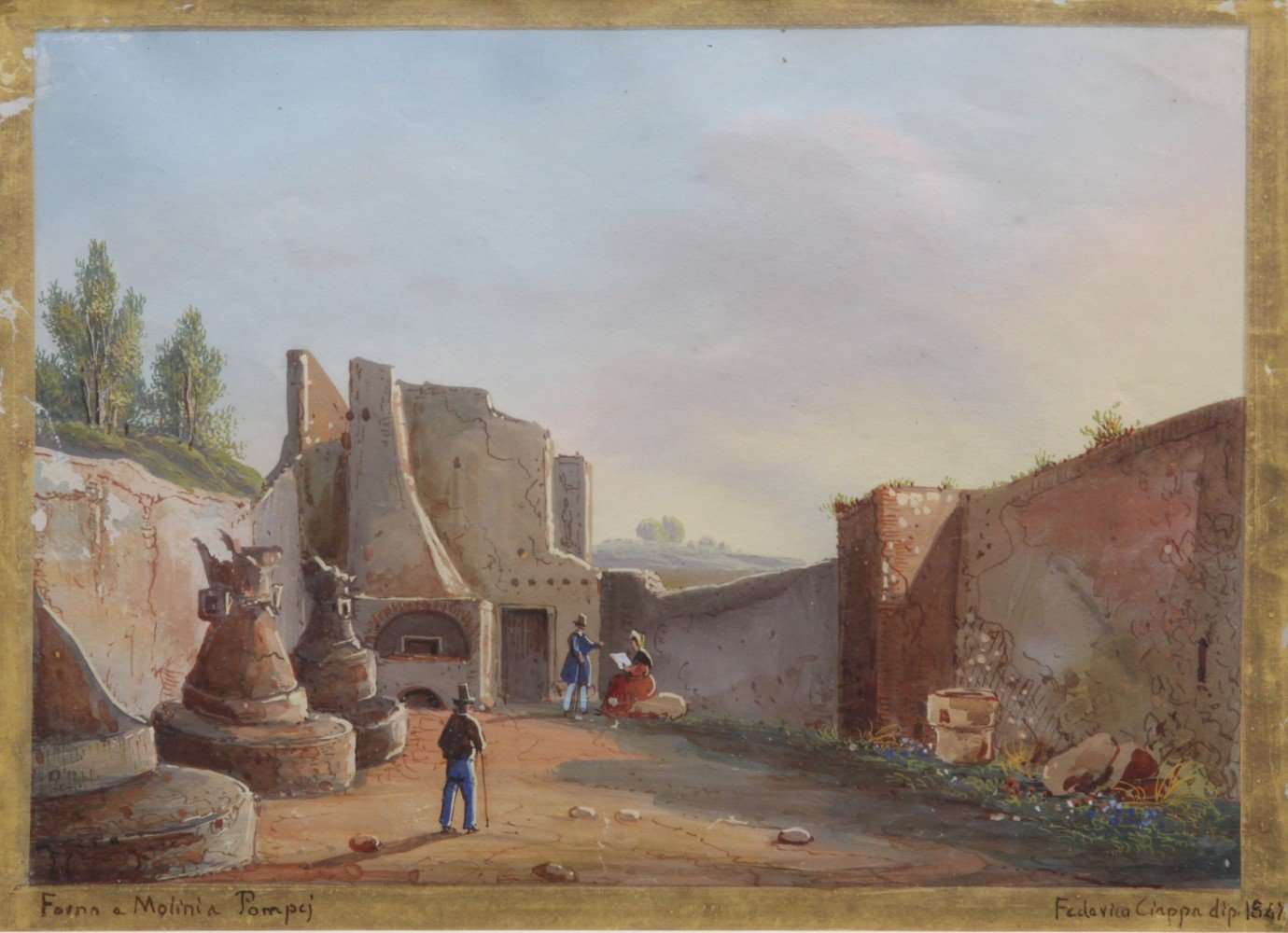 Tourists at Pompeii, Six Gouaches  by Federico Ciappa