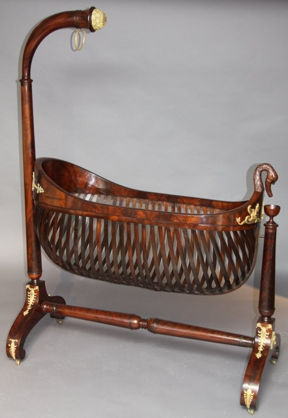 Fine Empire Mahogany and Gilt Bronze Cradle