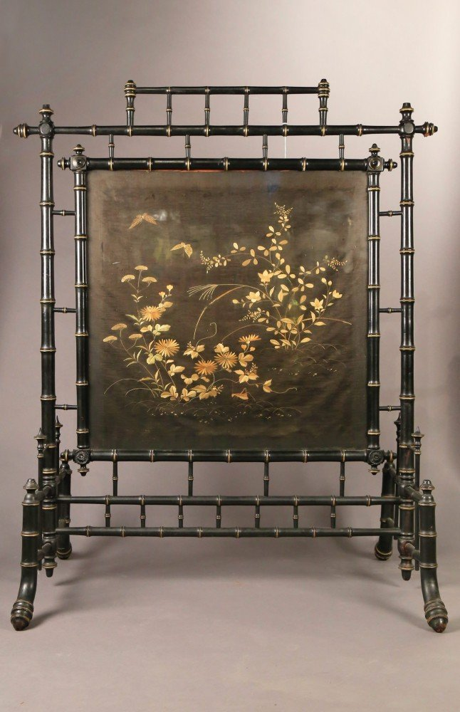 An Aesthetic Movement Fire Screen with Silk Embroidery Panel