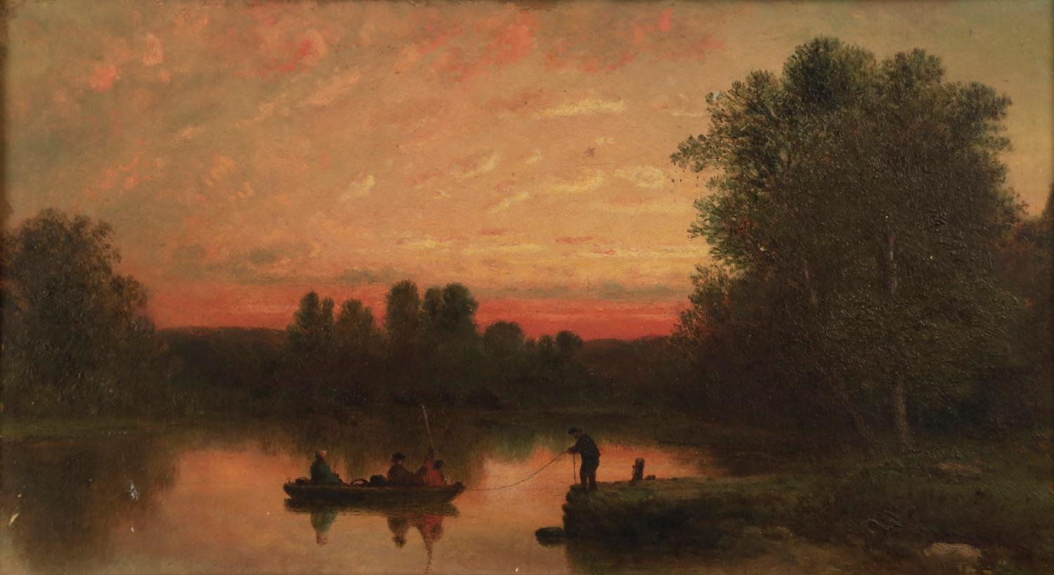 19thc. American School - Fishing at Twilight