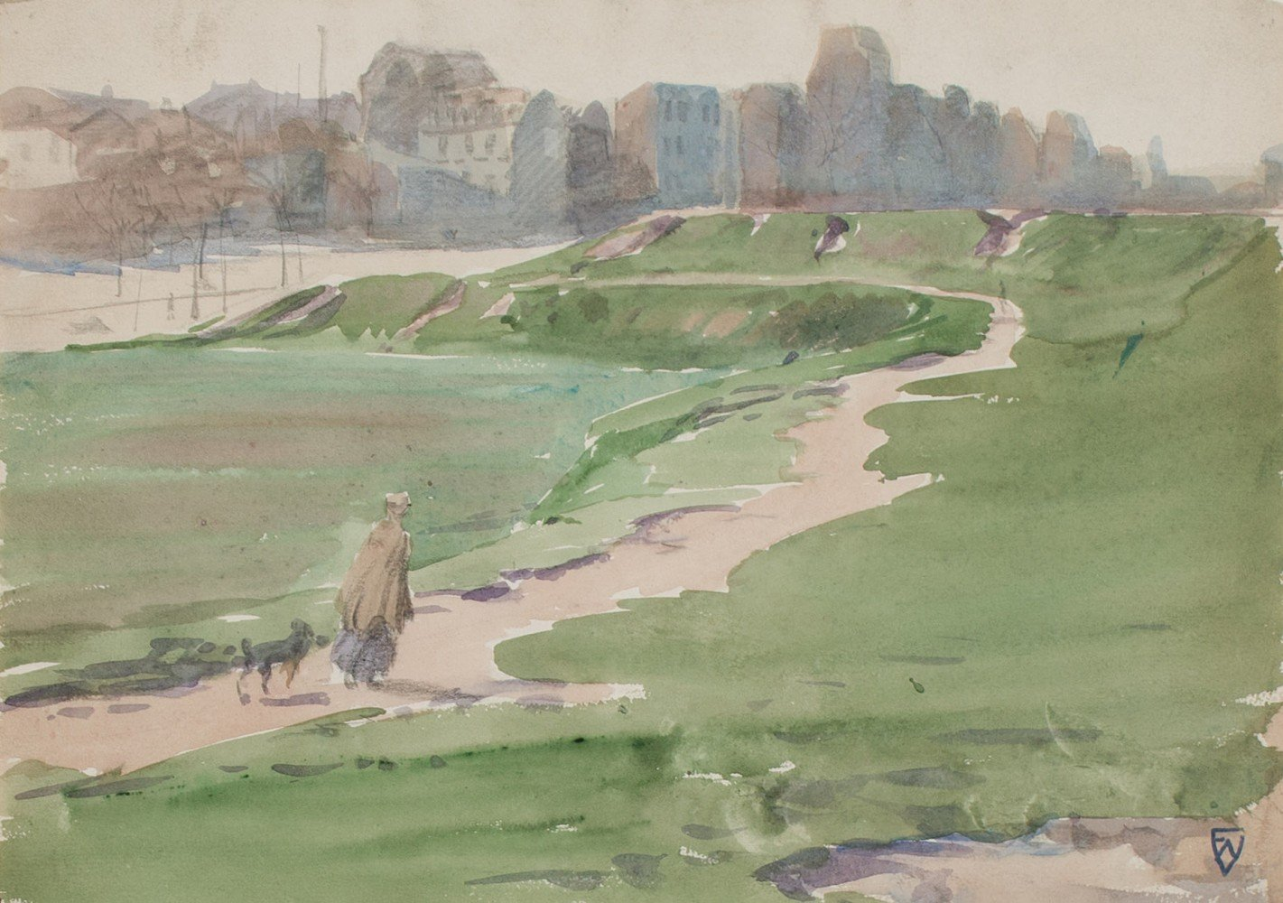 Landscape Watercolor and Graphite on Paper Painting: