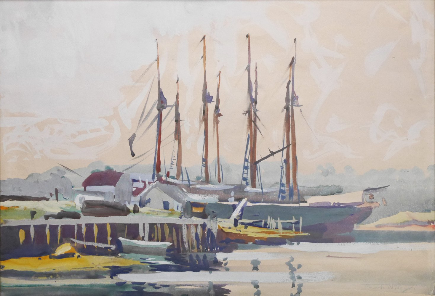 Schooner, Boothbay Harbor, Maine by Frank Nelson Wilcox