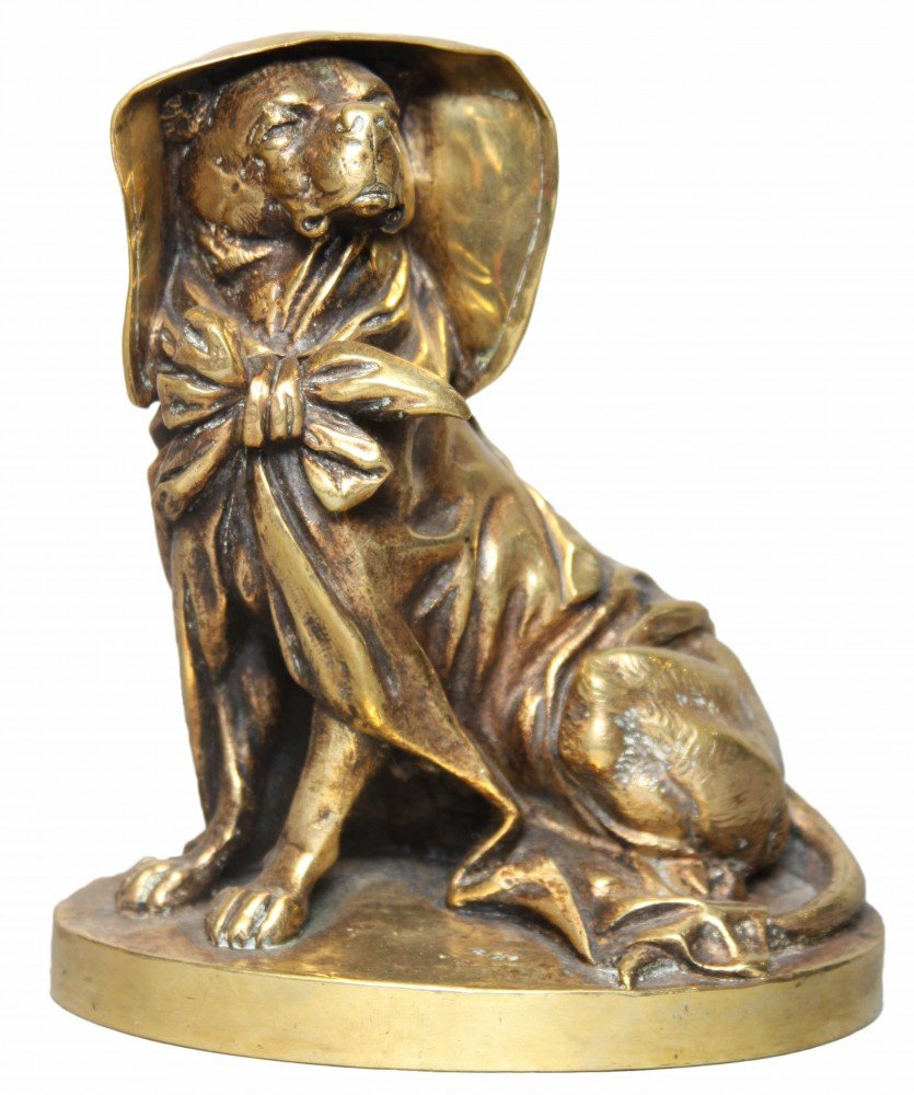 A French Gilt Bronze Inkwell in the Form of a Dog