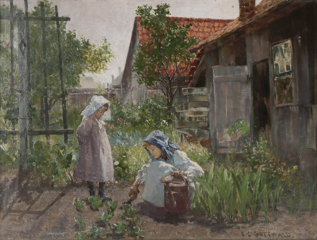 Mother and Child Gardening by Frederick Carl Gottwald