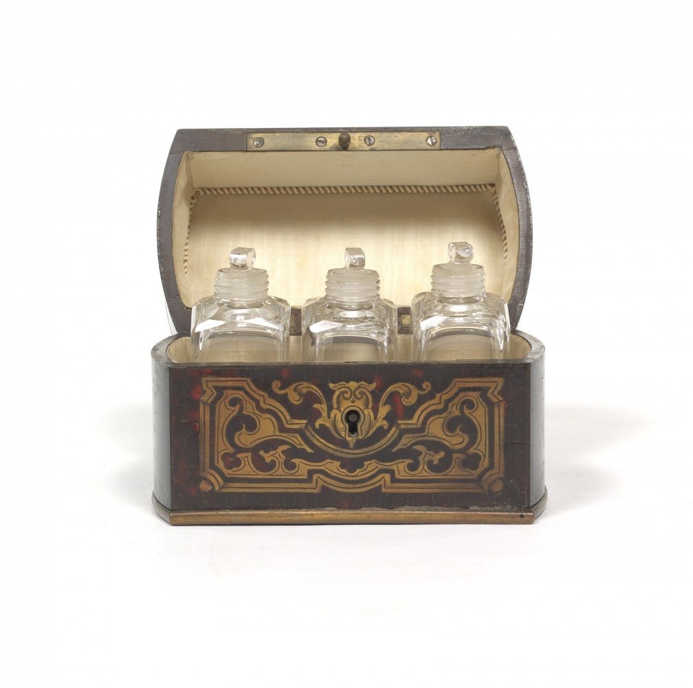 French Ebony and Boulle Perfume Bottle Vanity Casket