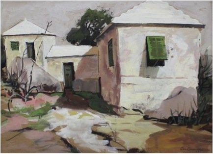Landscape Gouache on Cardboard Painting: