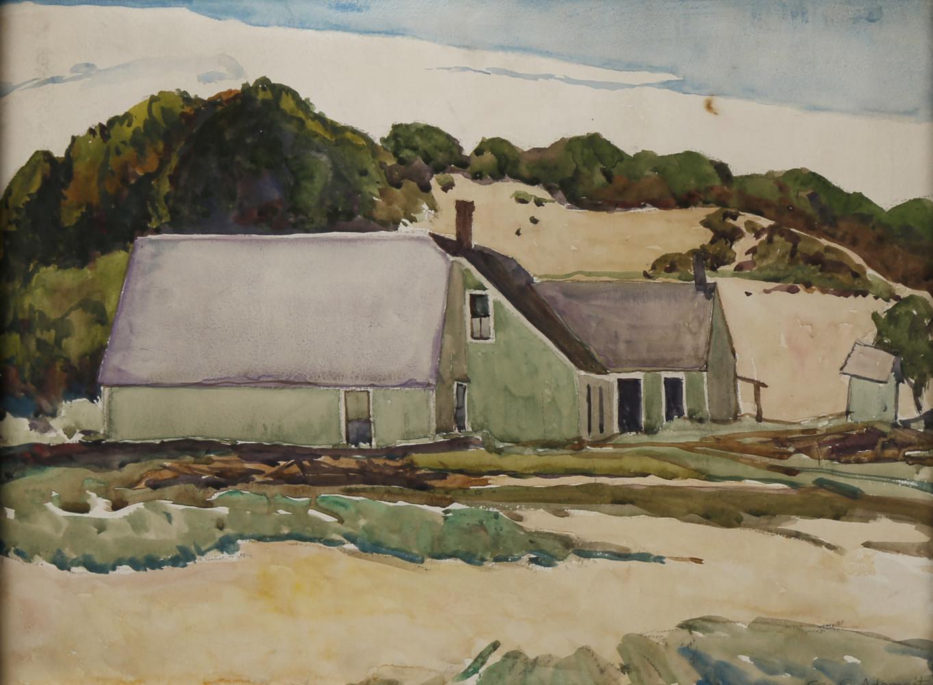 Barns in Rural Landscape by George Gustav Adomeit
