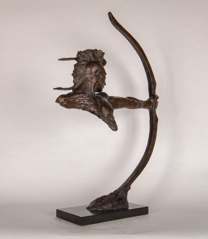 Figurative Bronze Sculpture on Black Stone Base Sculpture: