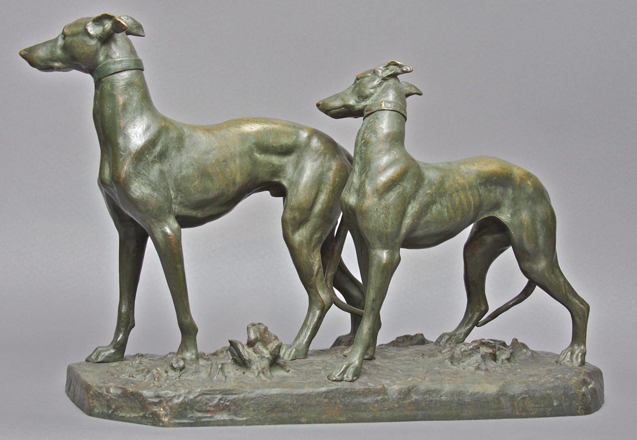 Two Whippets by Giacomo Merculiano