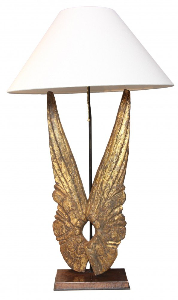 A Gilded Wood Wing Form Lamp