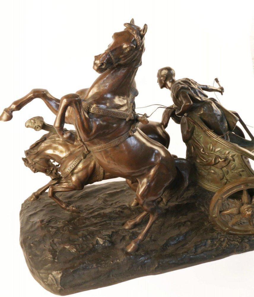 Giuseppe Ferrari 19th Century Bronze, Horse and Chariot by Giuseppe Ferrari