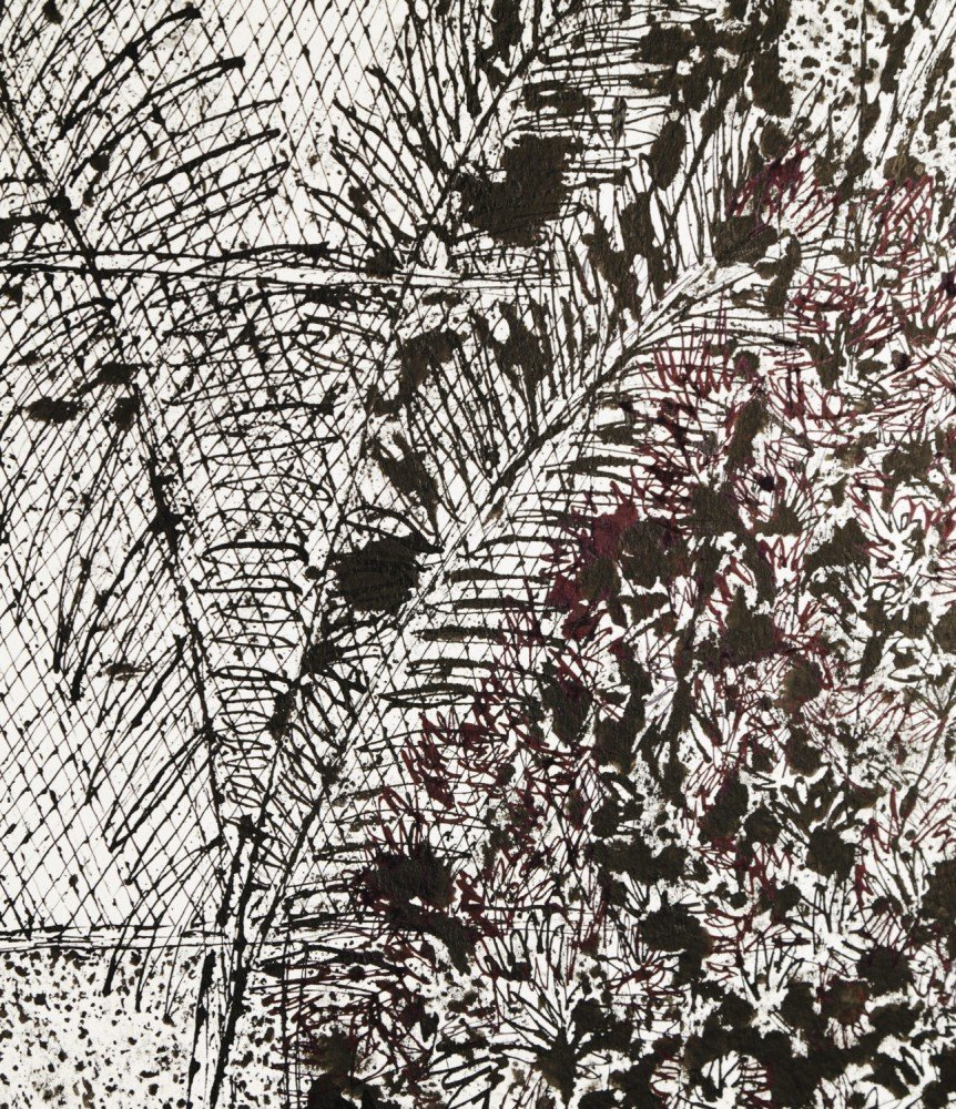 Abstract Landscape India Ink on Paper Drawing: