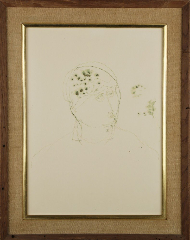 Figurative Green Ink on Paper Drawing: