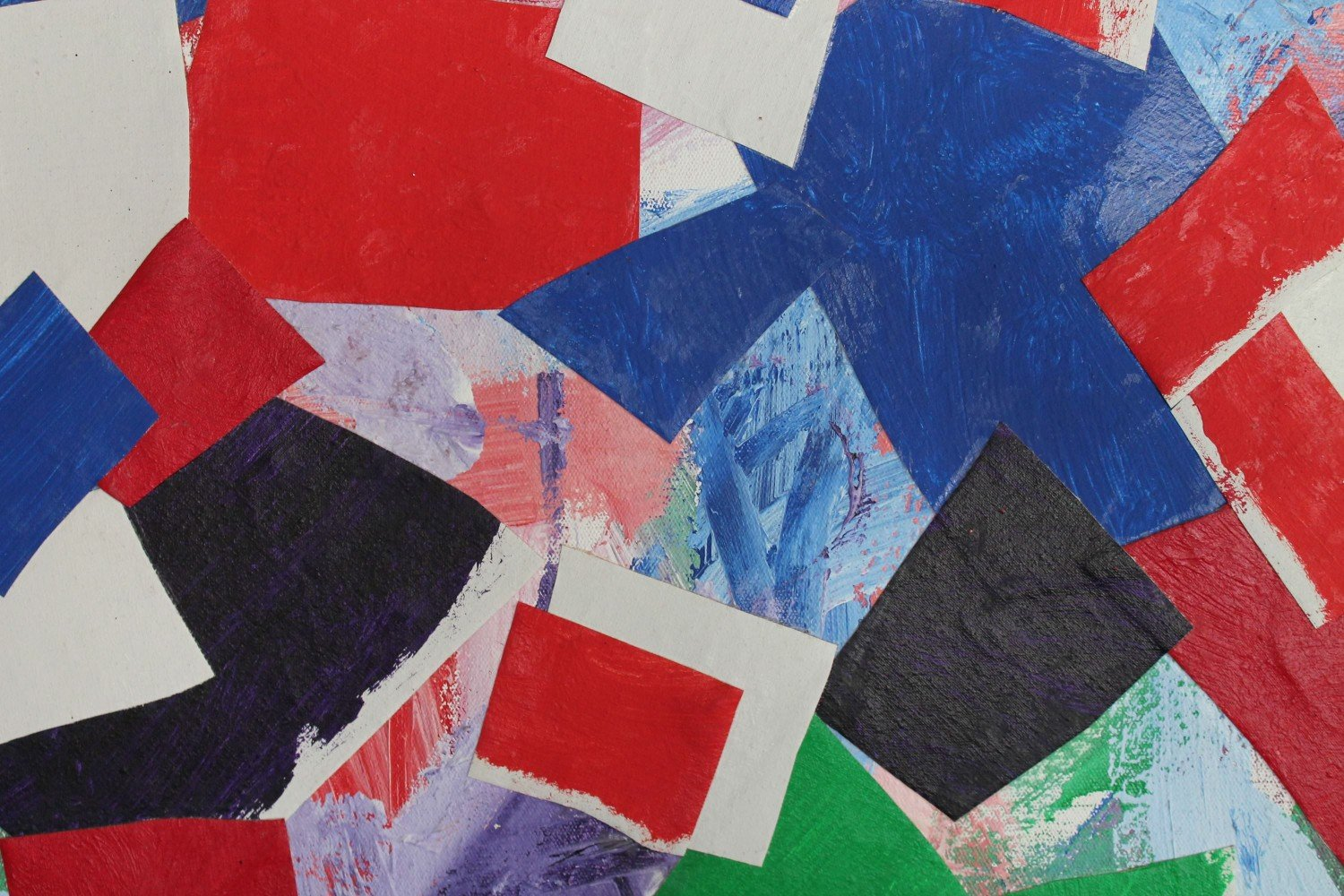 Abstract Acrylic on Canvas Collage Painting: