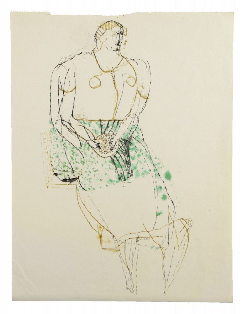 Figurative Black, Bistre and Green Ink on Paper: