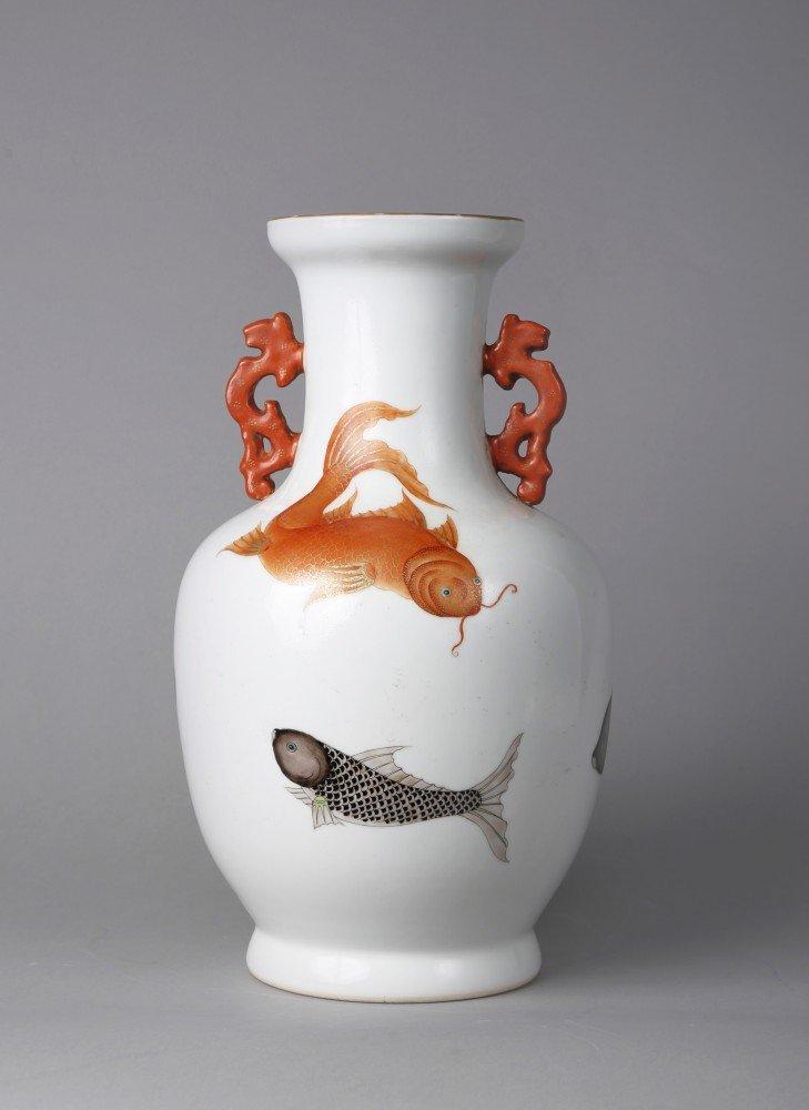 Porcelain: Chinese Famille Rose Porcelain Vase, Qing Dynasty, Goldfish & Koi Design