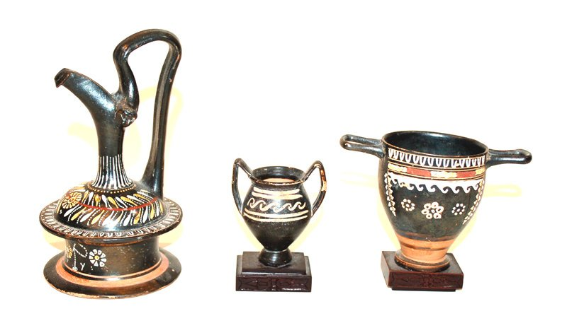 Greek Epichysis and Two Ignacian Ware Miniature Kraters